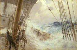 Clewing  Up the Mainsail in Heavy Weather