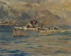 HMS 'Montrose' Arriving at Reykjavik, Iceland