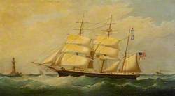 The Barque 'Grampus' Passing a Lighthouse