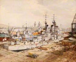 Dockyard Scene: HMS 'Vanguard' in Dry-Dock