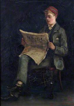 Boy Reading a Newspaper