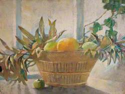 Fruit and Leaves in a Basket