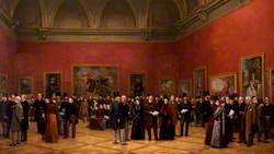 Private View of the Old Masters Exhibition, Royal Academy, 1888 (includes Sir John Everett Millais, 1st Bt; George Richmond; William Powell Frith; Sir Lawrence Alma-Tadema; Frank Holl; Sir Edward John Poynter, 1st Bt; Sir William Quiller Orchardson; Frederic Leighton, Baron Leighton; Ferdinand James Anselm de Rothschild, Baron de Rothschild; Henry Jamyn Brooks; Sir George Scharf; William Holman Hunt; William Ewart Gladstone; George Frederic Watts; John Ruskin and 50 others)