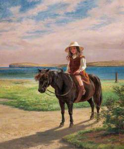 Margaret Traill Baikie on a Pony at the Hall of Tankerness