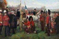 Presentation by HM Queen Victoria of New Colours to the 79th Cameron Highlanders on Return from 16 years of Foreign Service in India, April 1873