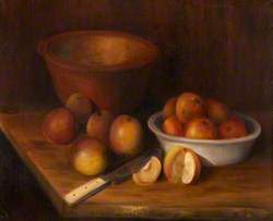 Still Life of Apples with Bowls and a Knife