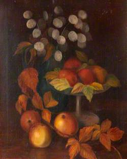 Still Life of Apples with Autumn Leaves and Honesty Pods