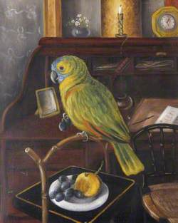 Miss Chichester's Parrot, 'Polly', on Its Perch by Her Desk