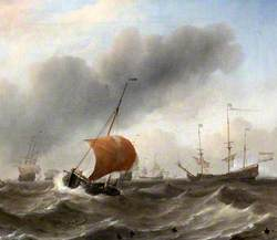 Dutch Shipping in a Heavy Swell with a Small Hoeker under a Half-Lowered Mainsail, and with a School of Porpoises in the Foreground