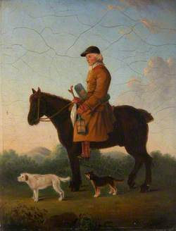 An Earthstopper on His Horse with Two Terriers in a Landscape