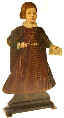 Standing Figure of a Boy Holding a Letter