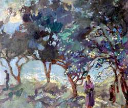 Mediterranean Scene with Olive Trees and Figures by the Sea