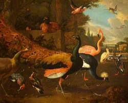 A Peacock and a Peahen with a Crane, a Flamingo, a Pelican, and Other Fowl, in a Park