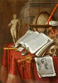 Vanitas Still Life with a Statuette of an Antique Athlete and a Print of Michelangelo