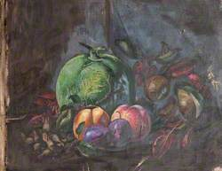 Still Life of a Gourd and Peaches