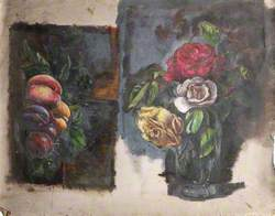 Studies of Peaches and Plums, and a Still Life of Roses in a Vase