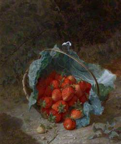 Still Life with Strawberries in a Cabbage Leaf in a Basket