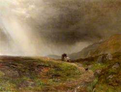 A Man with a Horse and Cart and a Dog on a Moor