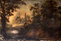 Wooded Rocky Landscape with Figures