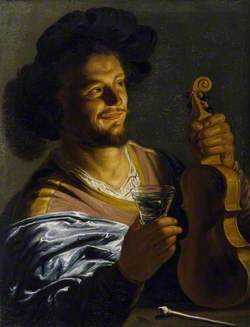 A Man with a Glass of Wine, a Pipe and a Fiddle