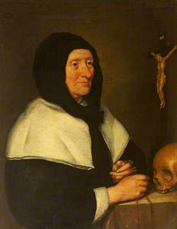 Portrait of an Old Woman (a Béguine?) with a Crucifix and a Skull