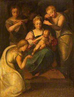 Madonna and Child with a Female Saint and Angels