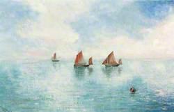 A Calm Sea with Three Small Sailing Boats