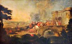One of Four Battle Scenes: An Engagement on a Bridge outside a Fort