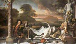 Still Life of Dead Game in a Landscape with a Huntsman