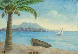 View of Nevis from St Kitts, with a Palm Tree