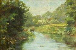 Rural Scene with Cows and a River