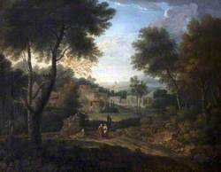 Classical Landscape with Figures on a Path by a Tomb
