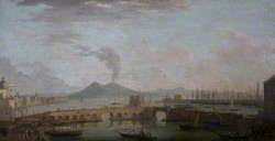 View of Naples: The Ponte Nuove in the Porto Grande, and Distant Shipping, Looking across the Bay to Vesuvius