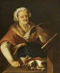 An Old Woman Singing, and a Dog