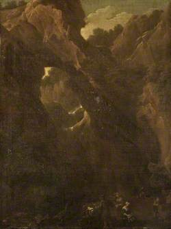 Peasants Camping by a Waterfall and Rocks