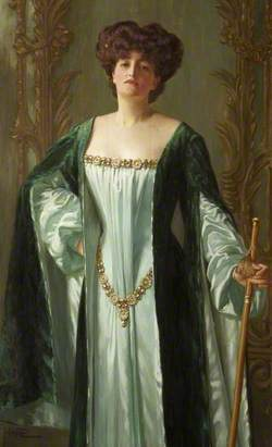 Alda Weston (d.1947), Lady Hoare, in a Green Cloak