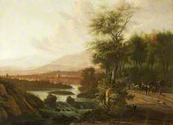A Wooded River Landscape with a Coach and Figures on a Road