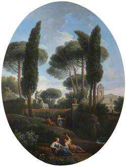 A Classical Landscape with Two Reclining Women Conversing