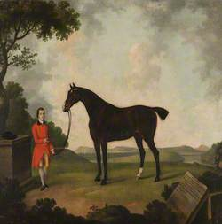 A Black Horse Called 'Bishop', with His Groom, in a Landscape
