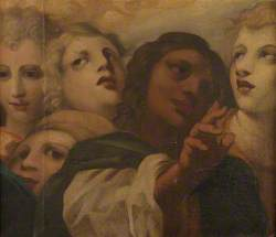 Heads of the Blessing Christ and Four Angels