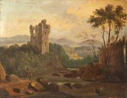 A River Landscape with a Ruined Tower, Ireland