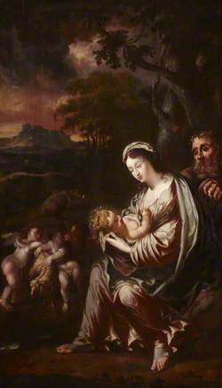 The Rest on the Flight into Egypt with Putti-Angels and a Lamb