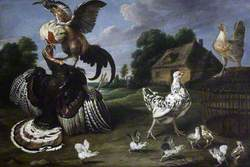 Barnyard Scene: a Cock Attacking a Turkey to Defend a Hen and Her Chicks