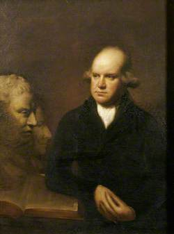 The Reverend Sir Herbert Croft (1751–1816), 5th Bt, with a Bust of Samuel Johnson