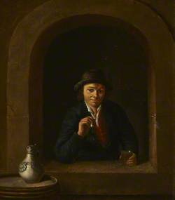 A Toper at a Window Holding a Pipe and a Glass