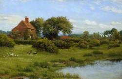 A Cottage with a Pond, at Burghfield, near Reading