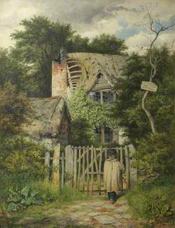 A Small Boy Standing at the Gate of a Ruined Cottage