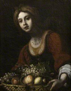 A Young Woman with a Basket of Fruit