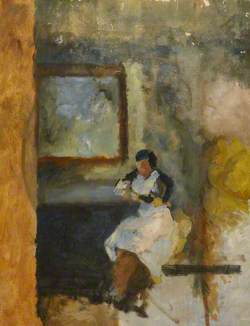 A Woman in a White Apron, Sitting under a Picture