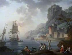 A Coastal Scene with Fishermen
